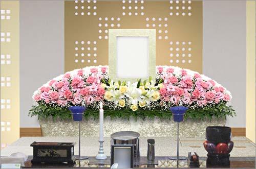 県央みずほ斎場の家族葬30花祭壇イメージ